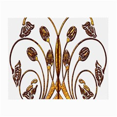 Scroll Gold Floral Design Small Glasses Cloth (2 Side) by Nexatart