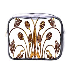 Scroll Gold Floral Design Mini Toiletries Bags by Nexatart