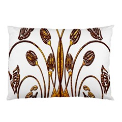 Scroll Gold Floral Design Pillow Case (two Sides) by Nexatart