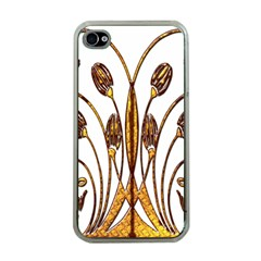 Scroll Gold Floral Design Apple Iphone 4 Case (clear)