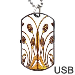 Scroll Gold Floral Design Dog Tag Usb Flash (one Side) by Nexatart