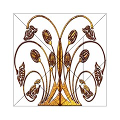 Scroll Gold Floral Design Acrylic Tangram Puzzle (6  X 6 )