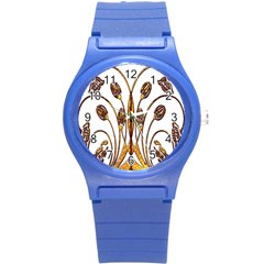 Scroll Gold Floral Design Round Plastic Sport Watch (s) by Nexatart