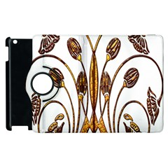 Scroll Gold Floral Design Apple Ipad 3/4 Flip 360 Case