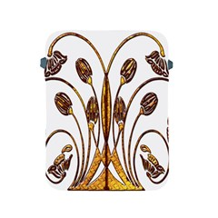 Scroll Gold Floral Design Apple Ipad 2/3/4 Protective Soft Cases by Nexatart