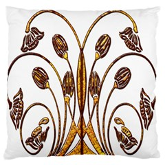 Scroll Gold Floral Design Large Flano Cushion Case (two Sides)