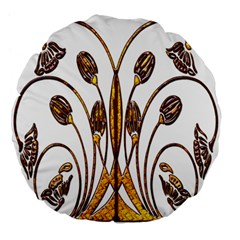 Scroll Gold Floral Design Large 18  Premium Flano Round Cushions by Nexatart