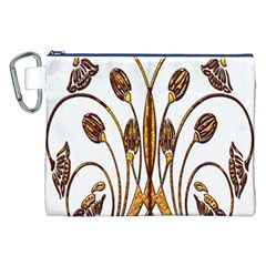Scroll Gold Floral Design Canvas Cosmetic Bag (xxl) by Nexatart