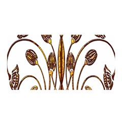 Scroll Gold Floral Design Satin Wrap