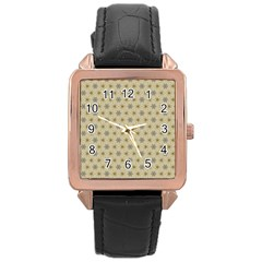 Star Basket Pattern Basket Pattern Rose Gold Leather Watch