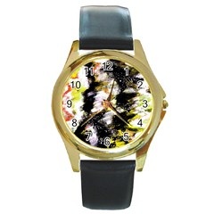 Canvas Acrylic Digital Design Round Gold Metal Watch