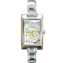 Flower White Rose Lying Rectangle Italian Charm Watch