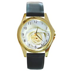 Flower White Rose Lying Round Gold Metal Watch