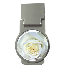 Flower White Rose Lying Money Clips (round)