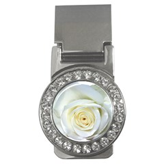 Flower White Rose Lying Money Clips (cz)  by Nexatart