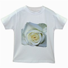Flower White Rose Lying Kids White T Shirts by Nexatart