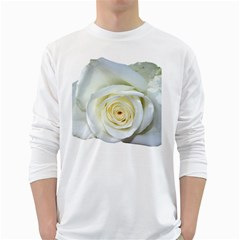 Flower White Rose Lying White Long Sleeve T Shirts