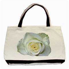 Flower White Rose Lying Basic Tote Bag by Nexatart