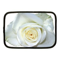 Flower White Rose Lying Netbook Case (medium)  by Nexatart