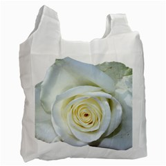 Flower White Rose Lying Recycle Bag (two Side)  by Nexatart
