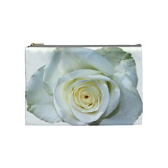 Flower White Rose Lying Cosmetic Bag (medium)  by Nexatart