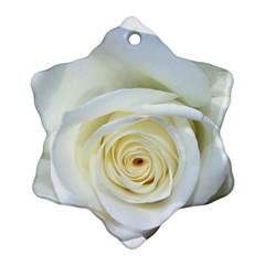 Flower White Rose Lying Snowflake Ornament (two Sides) by Nexatart