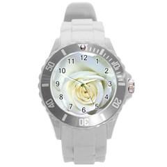 Flower White Rose Lying Round Plastic Sport Watch (l) by Nexatart