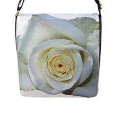 Flower White Rose Lying Flap Messenger Bag (l)  by Nexatart