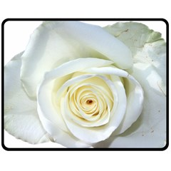 Flower White Rose Lying Double Sided Fleece Blanket (medium)  by Nexatart