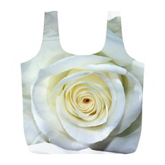 Flower White Rose Lying Full Print Recycle Bags (l)  by Nexatart