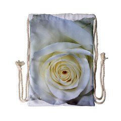 Flower White Rose Lying Drawstring Bag (small) by Nexatart