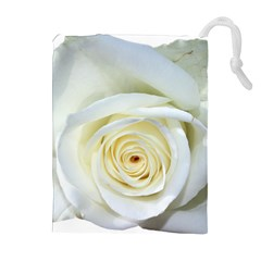 Flower White Rose Lying Drawstring Pouches (extra Large) by Nexatart
