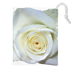 Flower White Rose Lying Drawstring Pouches (xxl) by Nexatart