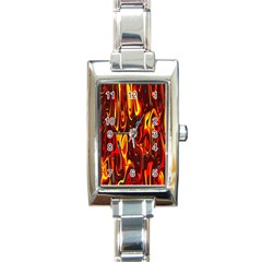 Effect Pattern Brush Red Orange Rectangle Italian Charm Watch by Nexatart