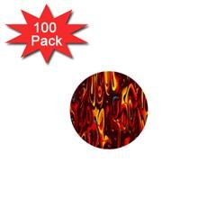 Effect Pattern Brush Red Orange 1  Mini Buttons (100 Pack)  by Nexatart