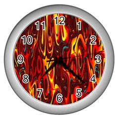 Effect Pattern Brush Red Orange Wall Clocks (silver)  by Nexatart