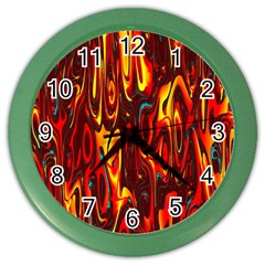Effect Pattern Brush Red Orange Color Wall Clocks