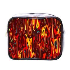 Effect Pattern Brush Red Orange Mini Toiletries Bags by Nexatart
