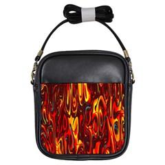 Effect Pattern Brush Red Orange Girls Sling Bags by Nexatart