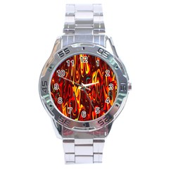 Effect Pattern Brush Red Orange Stainless Steel Analogue Watch by Nexatart
