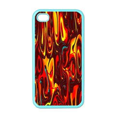 Effect Pattern Brush Red Orange Apple Iphone 4 Case (color) by Nexatart