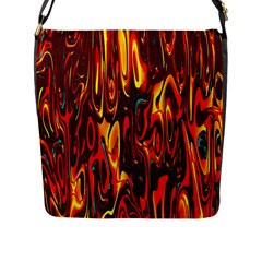 Effect Pattern Brush Red Orange Flap Messenger Bag (l)  by Nexatart