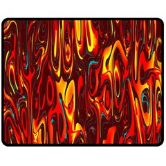 Effect Pattern Brush Red Orange Double Sided Fleece Blanket (medium)
