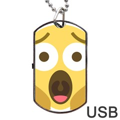Scream Emoji Dog Tag Usb Flash (one Side) by BestEmojis