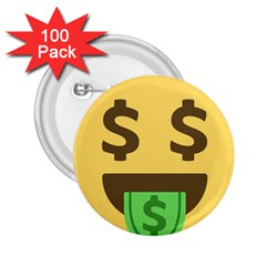 Money Face Emoji 2 25  Buttons (100 Pack)  by BestEmojis