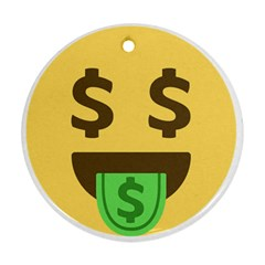 Money Face Emoji Round Ornament (two Sides) by BestEmojis