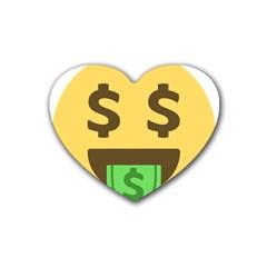 Money Face Emoji Rubber Coaster (heart)  by BestEmojis