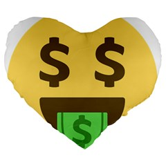 Money Face Emoji Large 19  Premium Heart Shape Cushions by BestEmojis