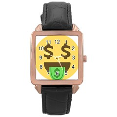 Money Face Emoji Rose Gold Leather Watch  by BestEmojis
