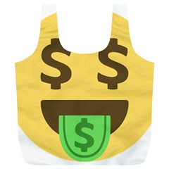 Money Face Emoji Full Print Recycle Bags (l)  by BestEmojis